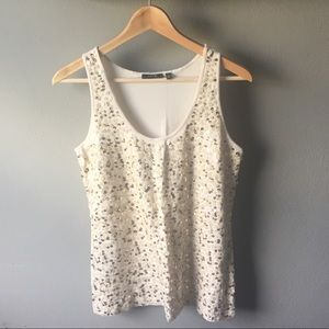 Cream Sequined Tank Size XL NWOT